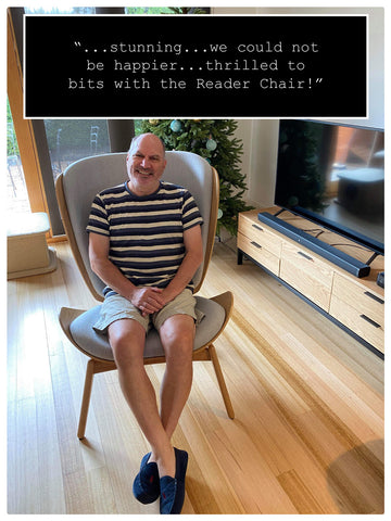 Reader Chair customer photo with quote