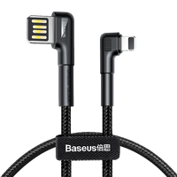Baseus Elbow LED Light Fast Charging Lightning Cable 1M - Black