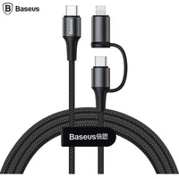 Baseus Twin 2 in 1 Type-C To Type-C and Lightning 60W Charging Cable