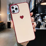 Plating Heart Rubber Cover for iPhone 11