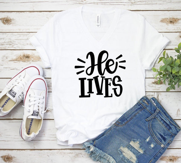 He Lives Easter V Neck T-shirt, Ladies, Graphic Tshirt, Unisex, Graphic T, Bella Canvas, Unisex Tee, Christian Shirt