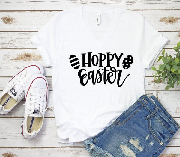 Hoppy Easter V Neck T-shirt, Ladies, Graphic Tshirt, Unisex, Graphic T, Bella Canvas, Unisex Tee, Christian Shirt