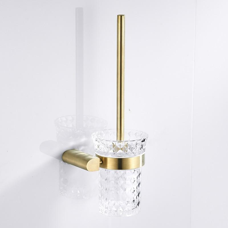 Bathroom Aaccsessories Set Long Handle Nordic Gold Toilet Brush Holder Durable Toilet Brush Toilet Glass Cup Toilet Bowl Brush - Saniplex Solutions