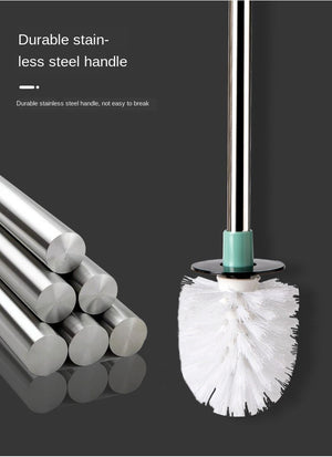 Toilet Brush Stainless Steel Holder Cleaning Brush For Toilet Wall Hanging Household Floor Cleaning Bathroom Accessories - Saniplex Solutions