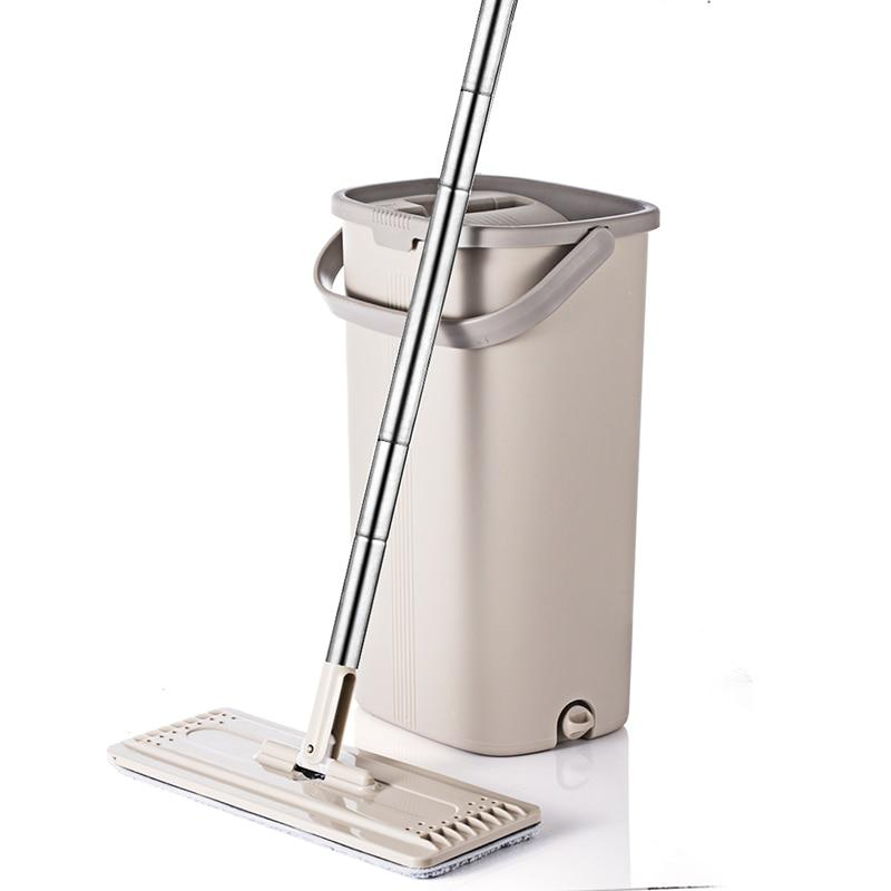 Squeeze Hand Free Flat Mop Bucket With Stainless Steel Handle 360 rotatable head With Reusable Mop Pads - Saniplex Solutions