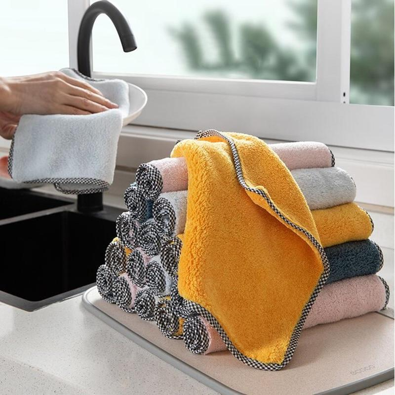 1pc Kitchen Towel Household Super Absorbent Cleaning Cloth Rag Microfiber Dishcloths Washing Cleaning Rags For Dish Washing tool - Saniplex Solutions