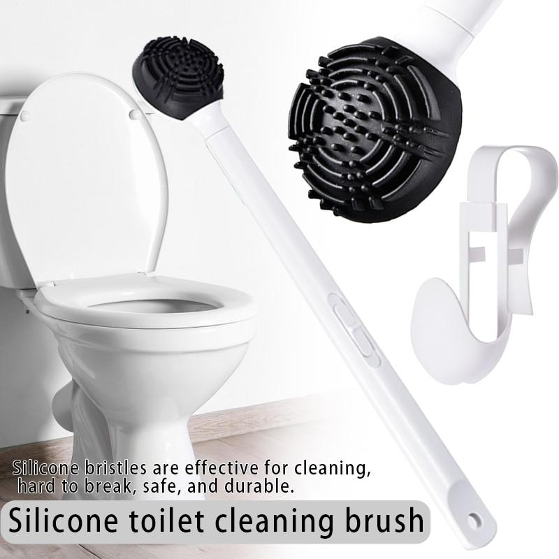 Silicone Toilet Cleaning Brush Detachable Long Handle Durable Cleaning Tool Bathroom Accessories - Saniplex Solutions