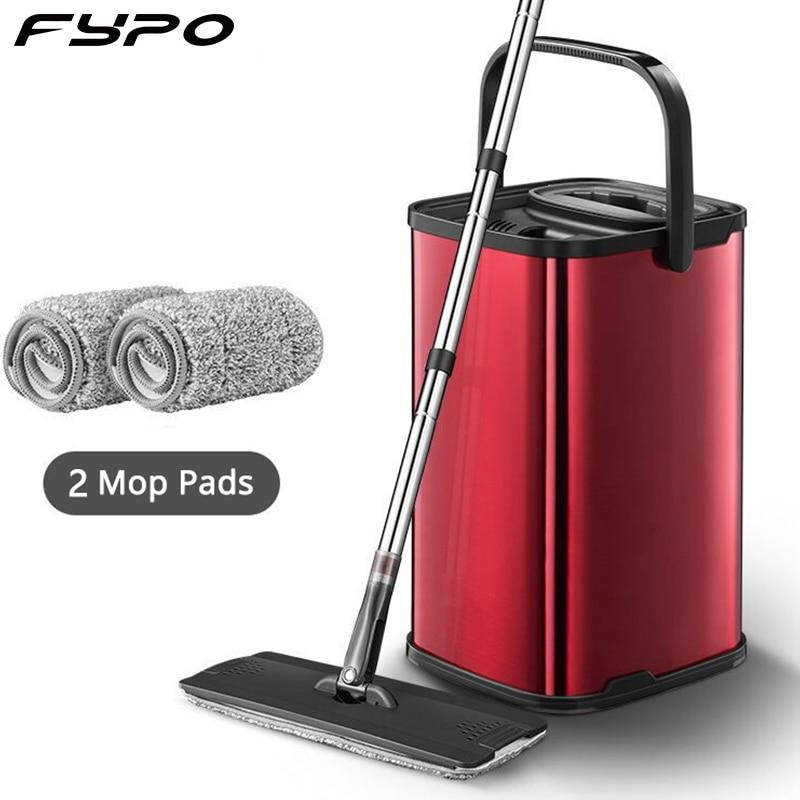 Stainless Steel Flat Mop 360 rotating set microfiber mop Bucket with 2 Rugs Metal Basket Sliding Type clean tool Floor Cleaner - Saniplex Solutions
