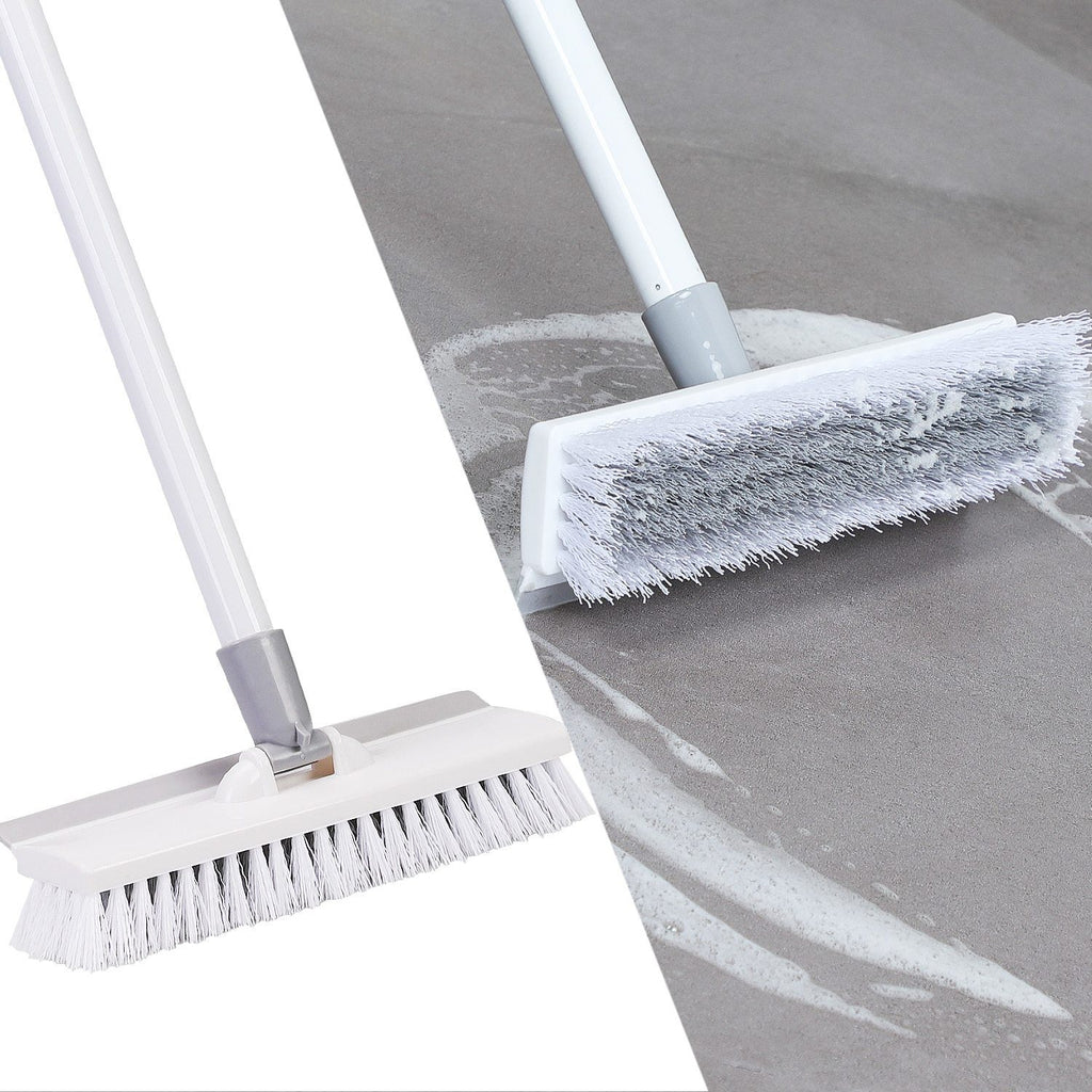 Floor Scrub Brush with  Adjustable Stainless Metal Long Handle Scrubber with Stiff Bristles for Tile Cleaning - Saniplex Solutions