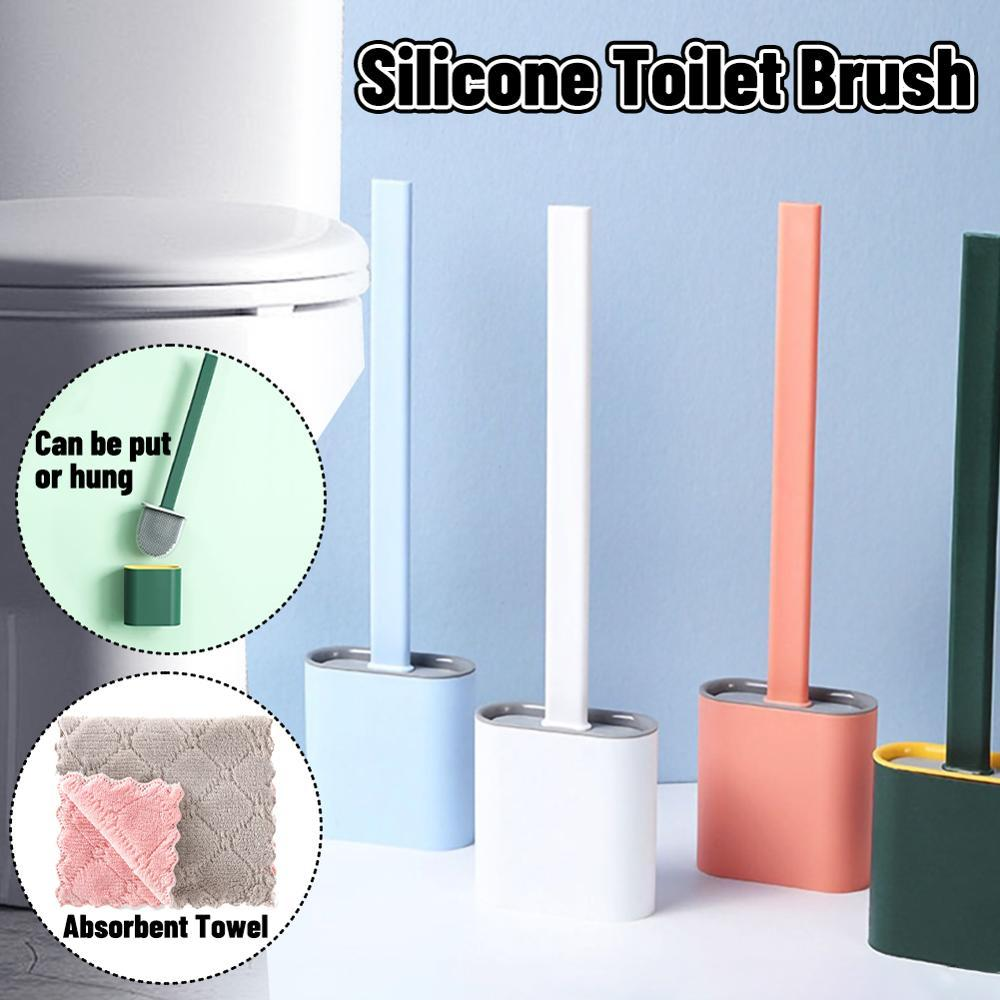 Silicone Toilet Brush Wall Mounted Flat Head Cleaning Brush Set
