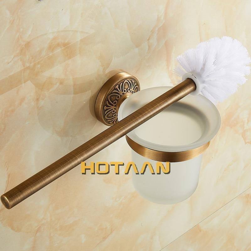 Antique Brass Color Wall Mounted Solid Aluminium Made Anti-Rust Toilet Brush Holder For Bathroom Accessories Set Bath Products - Saniplex Solutions