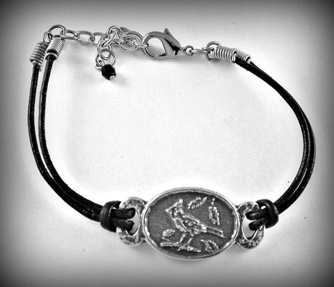 Cardinal Pewter/Leather cord bracelet