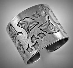Ginkgo Leaf Pewter Napkin Ring Set