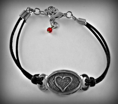 Heart/Love Pewter and Leather cord bracelet