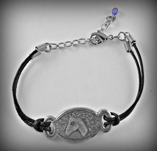 Horse Pewter/Leather cord Bracelet
