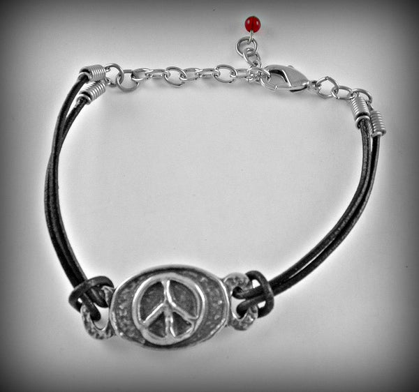 Peace Symbol Pewter/Leather cord bracelet