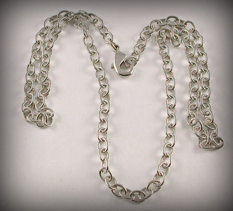 Chain: Silver finish brass Cable chain with clasp