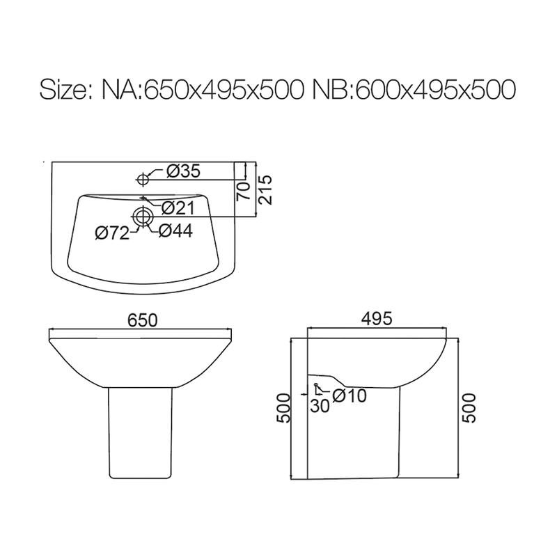 Half wash basin - Bathroom Set