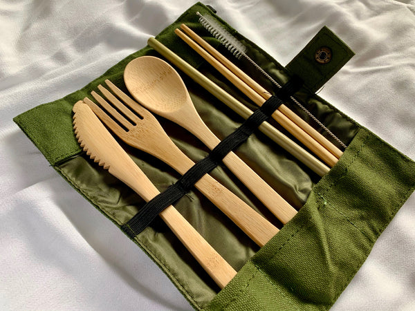 Eco-Friendly Bamboo Cutlery (6 pcs) Set with Pouch