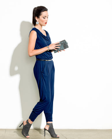 Draped Bamboo Stretch Jersey Wrap Jumpsuit