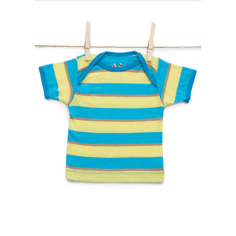 Sami Baby Tomte Stripe Lap Tee Yellow Blue Tan Stripe