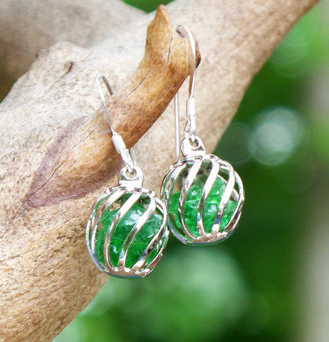 Green Cage Earrings