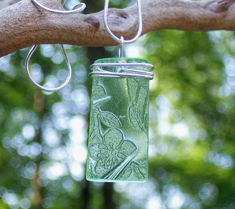 Green Depression Glass Rectangle Pendant