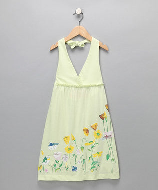 Lime Cream Organic Halter Dress - Girls