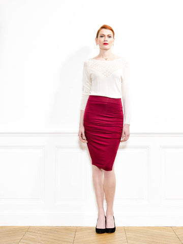 High Waisted Bamboo Jersey Ruched Pencil Skirt