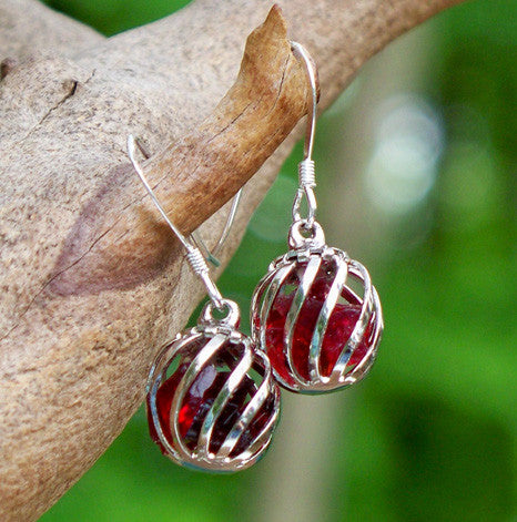 Ruby Cage Earrings