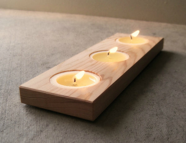 Wooden Candle Holder In Reclaimed Wood Ecoplum