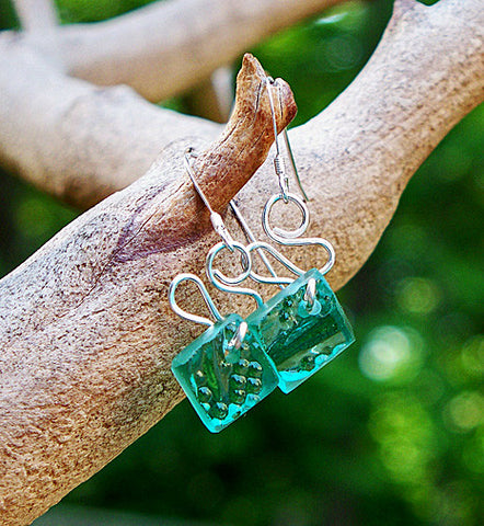 Teal Sandwich Glass Ribbon Earrings