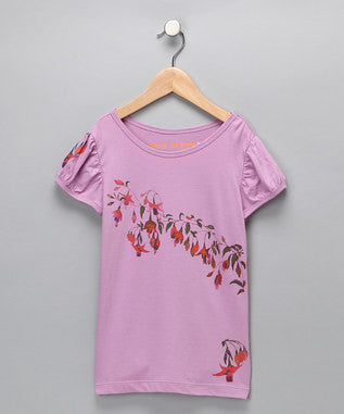 Violet Tulle Organic Puff-Sleeve Tee - Girls