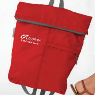 Compact Foldable rPET Backpack with EcoPlum Logo