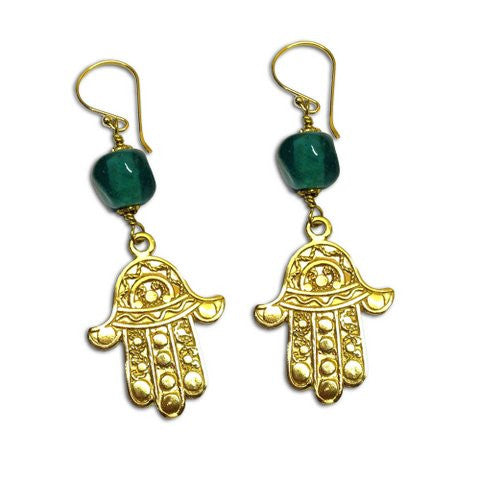 Hamsa Earrings GREEN Recycled Glass & Brass