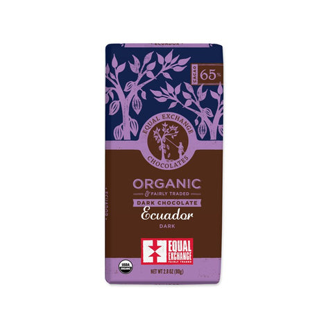 Organic Ecuador Dark Chocolate (65% Cacao) - 12 Pack