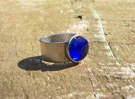 Recycled Glass Ring - Cobalt
