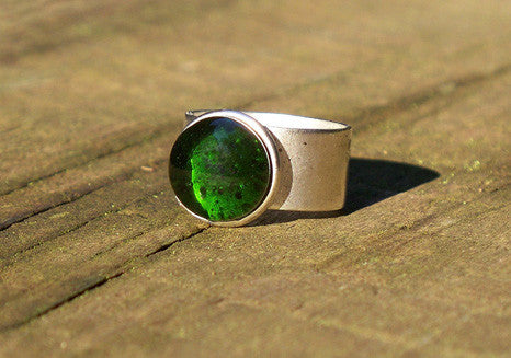 Recycled Glass Ring- Olive