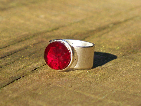Recycled Glass Ring - Ruby