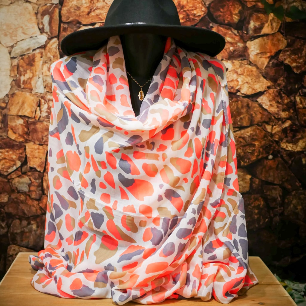 Foulard JUNGLE blanc gris rose fluo
