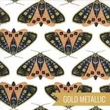 Butterflies on Black with Gold Metallic accents
