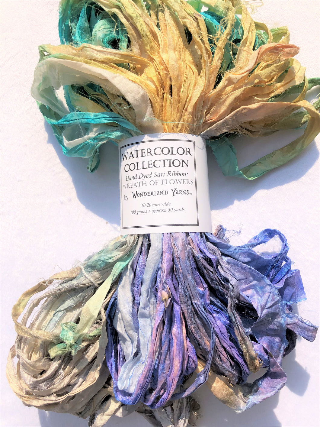 Sari Silk Ribbon - Hand-dyed Wreath of Flowers