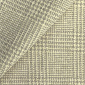 Ash Grey Glen Plaid 100% Wool Cloth