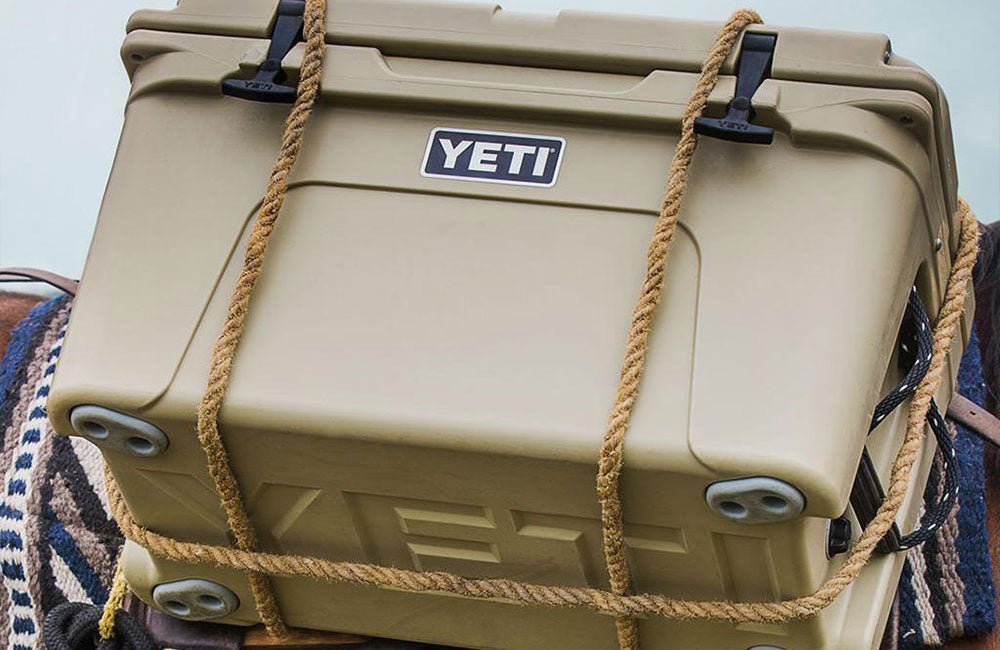 YETI Tundra 45 in Tan rigged up for transport