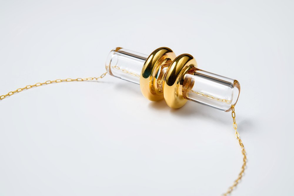 Clear - Double Gold Ring Pendant