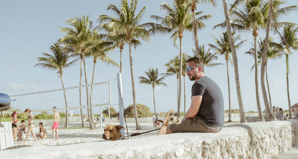 Man and his dog sitting in sunshine