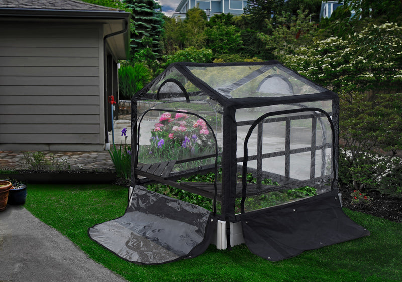 CLASSIC 4x4x11 Garden Bed With Garden Rack & Greenhouse
