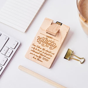 Personalized Wooden Card Shape Usb, Best Gift for boss, Best gift for colleague, Best gift for man, Unique Gift in Malaysia, Office Gift in Malaysia
