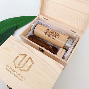Office Gift Set #01 - Thermal Flask, Pen with Leather Pouch, USB, Wooden Box