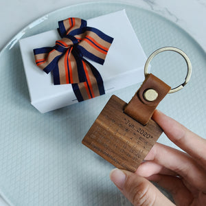 Personalized Real Leather Wood Keychain